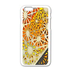 Abstract Starburst Background Wallpaper Of Metal Starburst Decoration With Orange And Yellow Back Apple Iphone 6/6s White Enamel Case