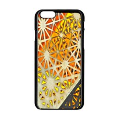 Abstract Starburst Background Wallpaper Of Metal Starburst Decoration With Orange And Yellow Back Apple Iphone 6/6s Black Enamel Case