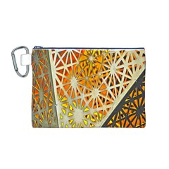 Abstract Starburst Background Wallpaper Of Metal Starburst Decoration With Orange And Yellow Back Canvas Cosmetic Bag (m)