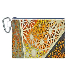Abstract Starburst Background Wallpaper Of Metal Starburst Decoration With Orange And Yellow Back Canvas Cosmetic Bag (L)