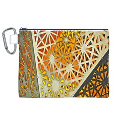 Abstract Starburst Background Wallpaper Of Metal Starburst Decoration With Orange And Yellow Back Canvas Cosmetic Bag (XL)
