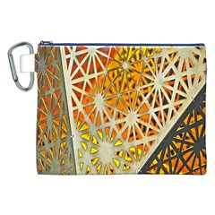 Abstract Starburst Background Wallpaper Of Metal Starburst Decoration With Orange And Yellow Back Canvas Cosmetic Bag (XXL)