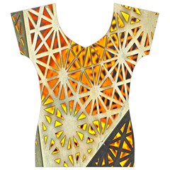 Abstract Starburst Background Wallpaper Of Metal Starburst Decoration With Orange And Yellow Back Women s V-Neck Cap Sleeve Top