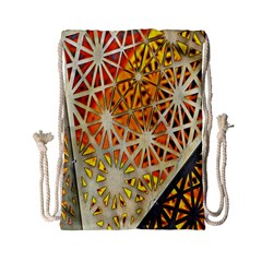 Abstract Starburst Background Wallpaper Of Metal Starburst Decoration With Orange And Yellow Back Drawstring Bag (Small)