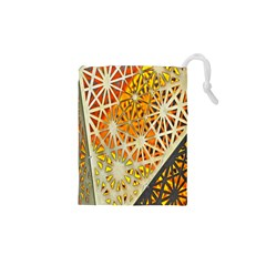 Abstract Starburst Background Wallpaper Of Metal Starburst Decoration With Orange And Yellow Back Drawstring Pouches (XS)