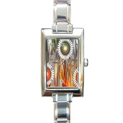 Floral Abstract Pattern Background Rectangle Italian Charm Watch
