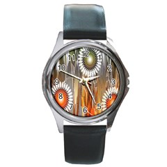 Floral Abstract Pattern Background Round Metal Watch