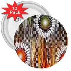 Floral Abstract Pattern Background 3  Buttons (10 Pack)