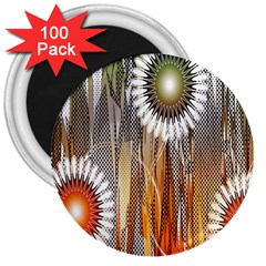 Floral Abstract Pattern Background 3  Magnets (100 pack)