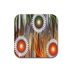Floral Abstract Pattern Background Rubber Coaster (square)