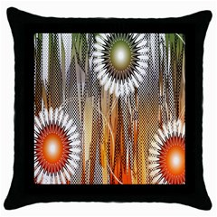 Floral Abstract Pattern Background Throw Pillow Case (Black)