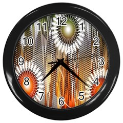 Floral Abstract Pattern Background Wall Clocks (Black)