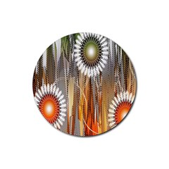 Floral Abstract Pattern Background Rubber Coaster (round)