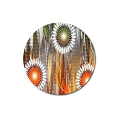 Floral Abstract Pattern Background Magnet 3  (round)