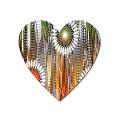 Floral Abstract Pattern Background Heart Magnet