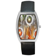 Floral Abstract Pattern Background Barrel Style Metal Watch