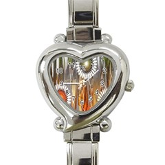 Floral Abstract Pattern Background Heart Italian Charm Watch