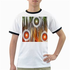 Floral Abstract Pattern Background Ringer T-Shirts