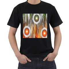 Floral Abstract Pattern Background Men s T-Shirt (Black) (Two Sided)
