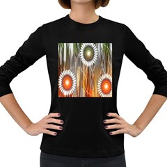 Floral Abstract Pattern Background Women s Long Sleeve Dark T-Shirts