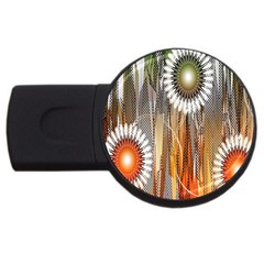 Floral Abstract Pattern Background Usb Flash Drive Round (4 Gb)