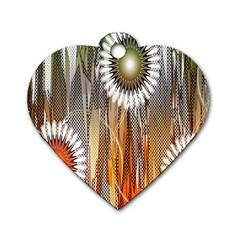 Floral Abstract Pattern Background Dog Tag Heart (Two Sides)