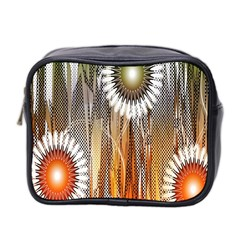 Floral Abstract Pattern Background Mini Toiletries Bag 2 Side