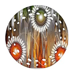 Floral Abstract Pattern Background Round Filigree Ornament (Two Sides)