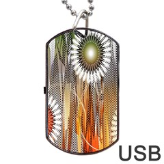 Floral Abstract Pattern Background Dog Tag USB Flash (Two Sides)