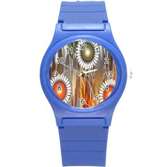 Floral Abstract Pattern Background Round Plastic Sport Watch (S)