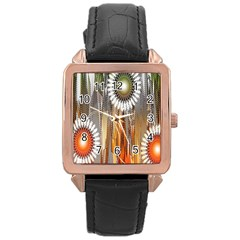Floral Abstract Pattern Background Rose Gold Leather Watch