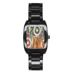 Floral Abstract Pattern Background Stainless Steel Barrel Watch