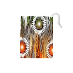 Floral Abstract Pattern Background Drawstring Pouches (Small)