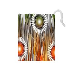 Floral Abstract Pattern Background Drawstring Pouches (Medium)