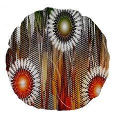 Floral Abstract Pattern Background Large 18  Premium Flano Round Cushions