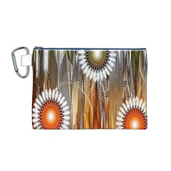 Floral Abstract Pattern Background Canvas Cosmetic Bag (m)