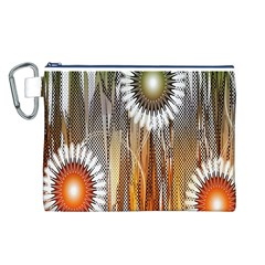 Floral Abstract Pattern Background Canvas Cosmetic Bag (L)