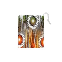 Floral Abstract Pattern Background Drawstring Pouches (XS)
