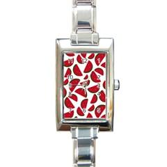 Fruit Watermelon Seamless Pattern Rectangle Italian Charm Watch