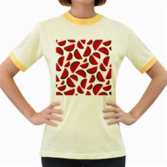 Fruit Watermelon Seamless Pattern Women s Fitted Ringer T-Shirts