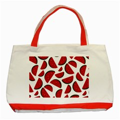 Fruit Watermelon Seamless Pattern Classic Tote Bag (Red)