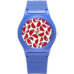 Fruit Watermelon Seamless Pattern Round Plastic Sport Watch (S)