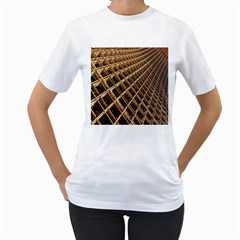 Construction Site Rusty Frames Making A Construction Site Abstract Women s T-Shirt (White) (Two Sided)
