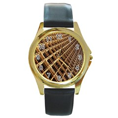 Construction Site Rusty Frames Making A Construction Site Abstract Round Gold Metal Watch