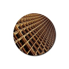 Construction Site Rusty Frames Making A Construction Site Abstract Rubber Round Coaster (4 pack)