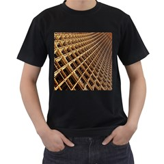 Construction Site Rusty Frames Making A Construction Site Abstract Men s T-Shirt (Black) (Two Sided)
