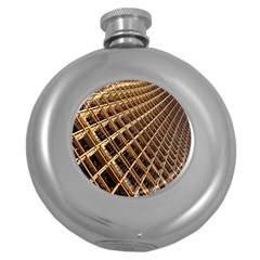 Construction Site Rusty Frames Making A Construction Site Abstract Round Hip Flask (5 oz)
