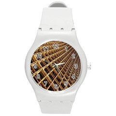 Construction Site Rusty Frames Making A Construction Site Abstract Round Plastic Sport Watch (M)