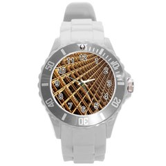 Construction Site Rusty Frames Making A Construction Site Abstract Round Plastic Sport Watch (L)