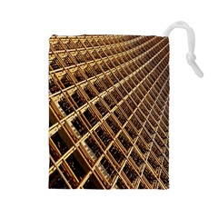 Construction Site Rusty Frames Making A Construction Site Abstract Drawstring Pouches (Large)